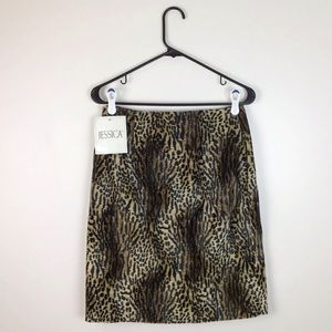 VTG 90's Fuzzy Leopard Print Skirt Brown M